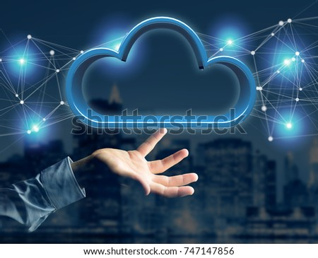 View of a Blue cloud displayed on a futuristic interface - 3d rendering - Shutterstock ID 747147856