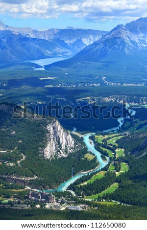 View of a Bow river valley and golf courses against Rocky Mountains. Banff National Park. Alberta. Canada #112650080