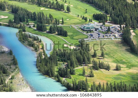 View of a Bow river valley and golf courses. Banff National Park. Alberta. Canada