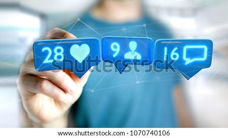 Photo of  View of a Businessman holding a Like, Follower and message notification on social network - 3d render