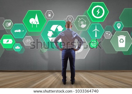 View of a Businessman in front of a wall with Technology ecologic interface  #1033364740