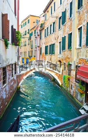 View of a canal and Restaurant in Venice, italy