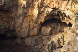 View of a cliff cavern
