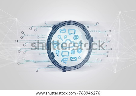 View of a Cloud symbol connection surrounded by multimedia and internet application logo - 3d render #768946276