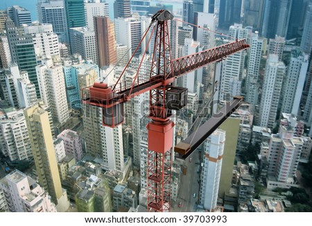 View of a construction crane from above looking down onto a metropolitan city scape during daytime #39703993