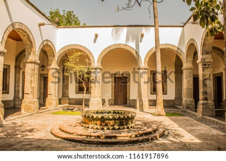 view of a courtyard of the cultural Institute Cabanas a place of culture in Guadalajara Jalisco Mexico in a wonderful and sunny day #1161917896