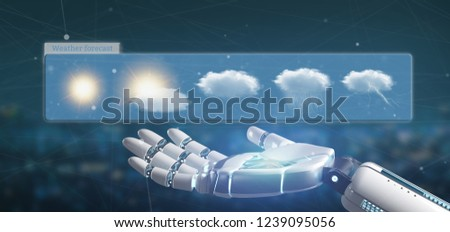 View of a Cyborg hand holding a Weather Forecast widget 3d rendering
