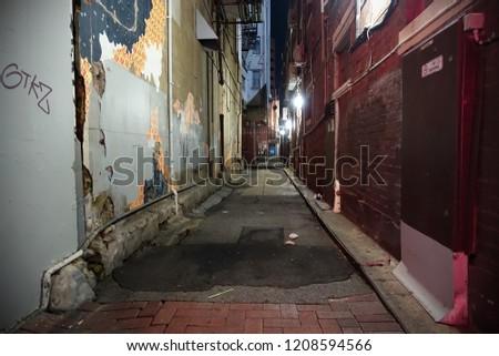 View of a Dark Inner City Alleyway