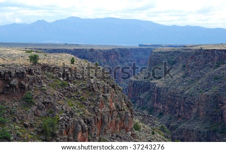 View of a deep gorge of the Rio Grande River