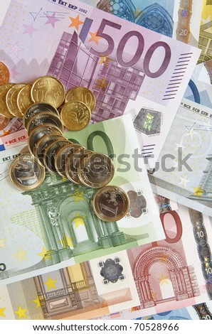 view of  a diverse group of  European banknotes and coins