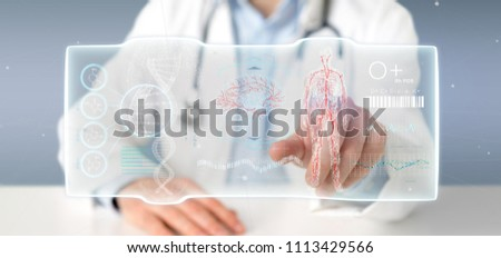View of a Doctor holding a Futuristic template interface hud #1113429566