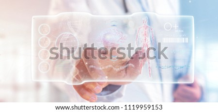 View of a Doctor holding a Futuristic template interface hud #1119959153