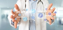 View of a Doctor holding Science icons and title