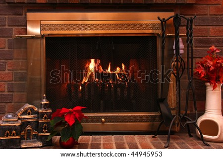 View of a fireplace at Christmas