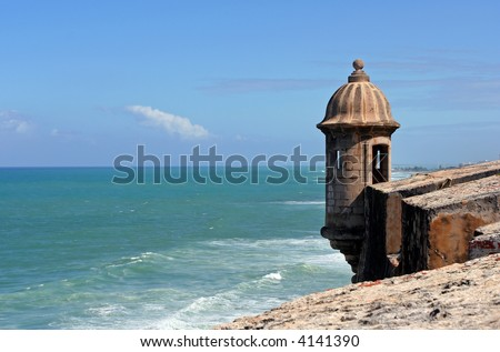 View of a garita and Caribbean Sea from the El Morro fort in San Juan, Puerto Rico.