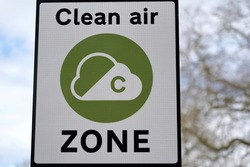 View of a Generic Clean Air Congestion Zone Charge Sign