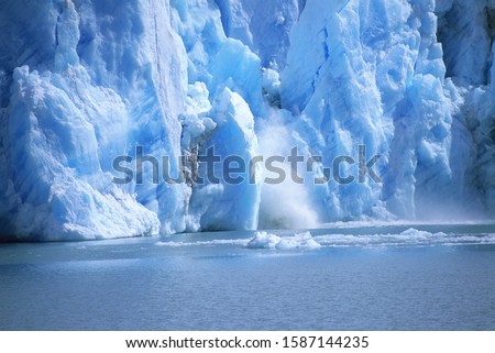 View of a glacial ice avalanche, Los Glaciares National Park, Patagonia, Argentina