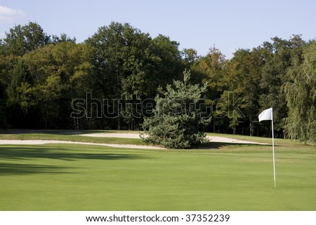 View of a golf course - Green with a white flag