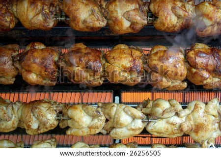 View of a grill machine full of chikens.