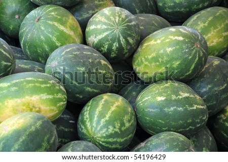 View of a heap of ripe watermelons.