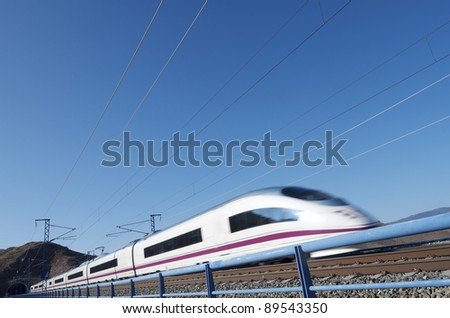 view of a high-speed train crossing a viaduct in Purroy, Saragossa, Aragon, Spain; AVE Madrid Barcelona