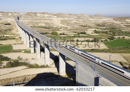 view of a high-speed train crossing a viaduct in Spain