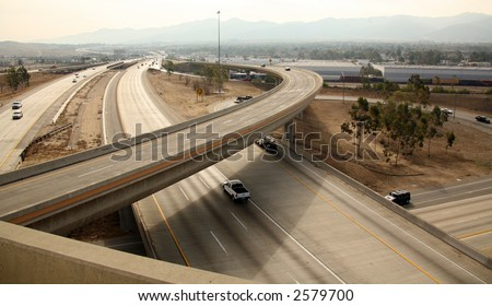 View of a Highway Interchange in Southern California on Smoggy Day