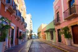 View of a historic colonial street in Campeche, Mexico