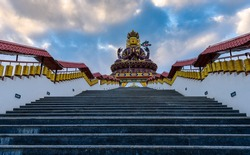 View of A Huge metallic statue of Chenrezig  at Sangha Choeling, Pelling,Sikkim. India. The Chenrezig Shingkham project is coming up as an iconic pilgrimage tourism destination.