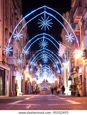 view of illuminated Merchants Street with christmas decoration in Valletta, Malta
