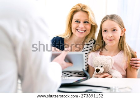 View of a Little girl at the doctor with her mother