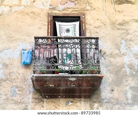 View of a local balcony  in  Havana, Cuba