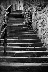 View of a Long Flight of Old Stone Steps Leading up a Dark Alleyway
