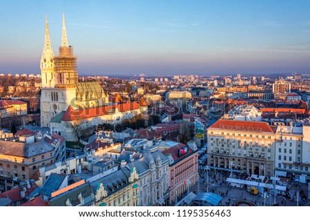 View of a main square in Zagreb, Croatia, at advent time from above