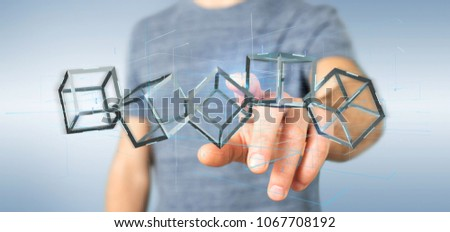 View of a Man holding a 3d rendering blockchain cube isolated on a background