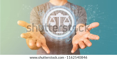 View of a Man holding a Technology justice icon on a circle 3d rendering #1162540846