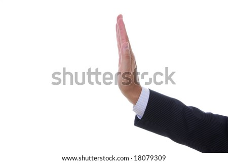 View of a man's hand signaling stop isolated on white background