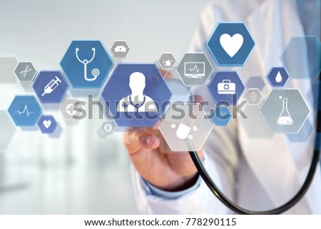 View of a Medecine and general healthcare icon displayed on a medical interface  #778290115