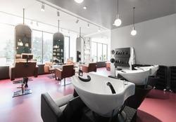 View of a modern bright beauty salon. Hair salon and make up store, modern light interior