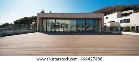 View of a modern empty balcony