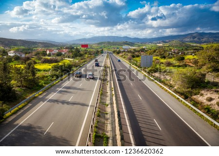View of A1 motorway, locally referred to as the Nicosia-Limassol highway. Cyprus. #1236620362