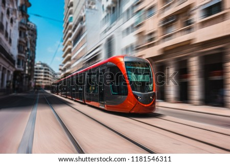 view of a moving tram in casablanca - Morocco