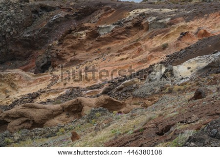 view of a multi-colored volcanic rock in Madeira #446380108