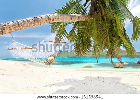 view of a nice hummock with a sun hat inside on Palm tree on a tropical white sand beach with turquoise water - seychelles