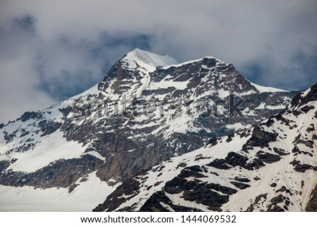 View of a panorama from the mountains around Alp Gruem-Bernina Massif and Palue Gletzscher, Swiss Alps, Europe #1444069532