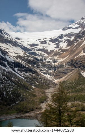 View of a panorama from the mountains around Alp Gruem-Bernina Massif and Palue Gletzscher, Swiss Alps, Europe #1444091288