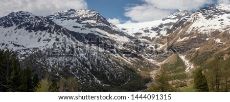 View of a panorama from the mountains around Alp Gruem-Bernina Massif and Palue Gletzscher, Swiss Alps, Europe #1444091315
