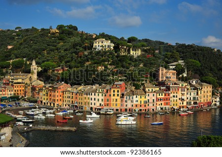 View of a pictoresque port in a sunny day/Portofino view
