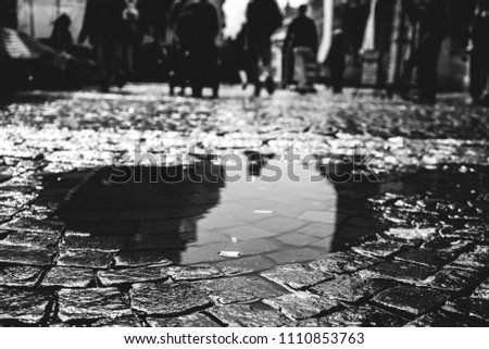 View of a puddle after the rain. we can see a cigarette butt in the middle that shows the cleanliness of our cities