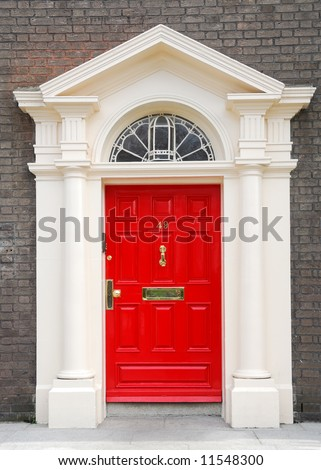 View of a red door in Dublin, Ireland